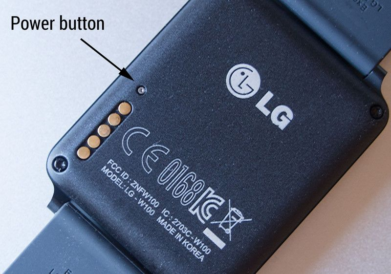LG G Watch Reset recovey mode button on the back side of the watch