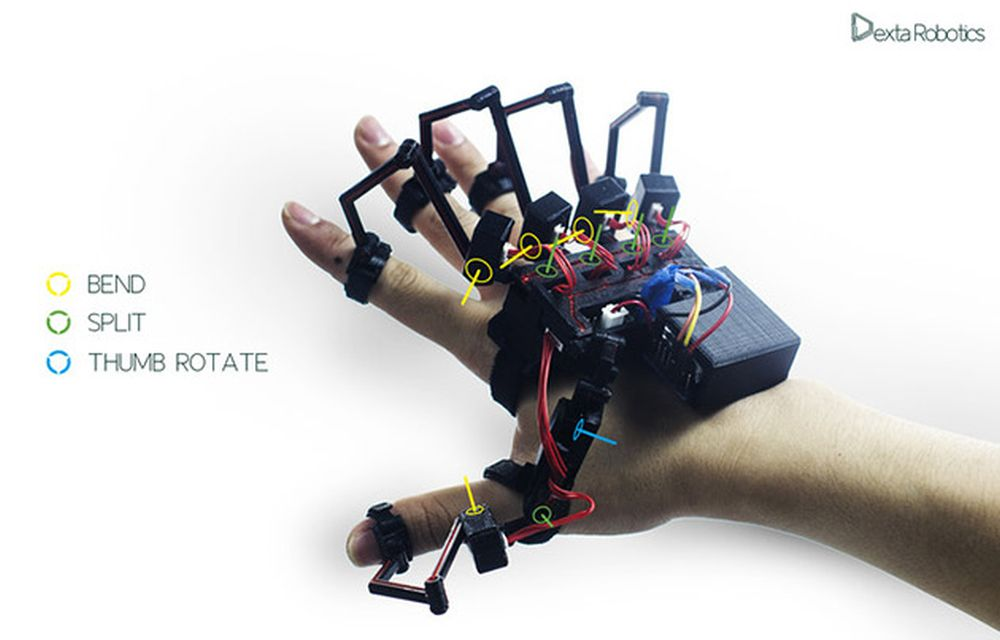 Exoskeleton Glove Controls Virtual Objects And Robots With Feel